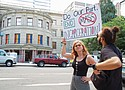 """Chelsea Whipple (left) joins a """"Portland Resistance"""" rally calling for police accountability in the city's upcoming police bargaining union contract."""