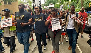 (l-r) Kevin McCall, Kirsten Foy, Gwen Carr, mother of Eric Garner, and Public Advocate Jumaane Williams protest outside of Gracie Mansion