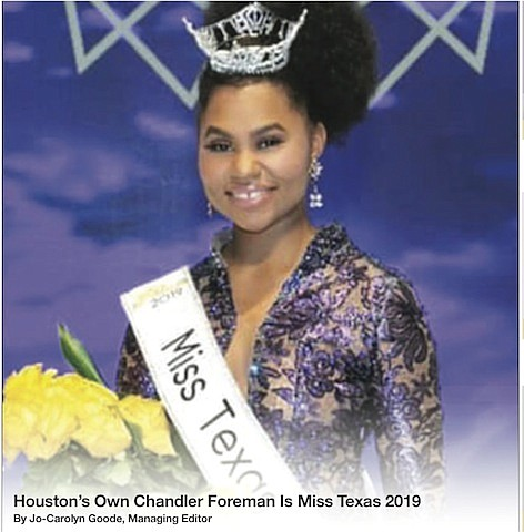 A win for the US is how Miss Texas 2019 Chandler Foreman describes her historic crowning as the first reigning ...