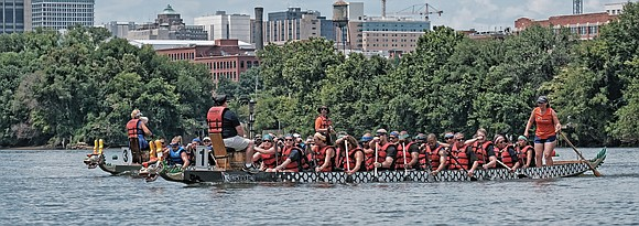 Dragon boat racing marked its 10th year in Richmond with a festive event Saturday highlighted by the paddle-powered competition on ...