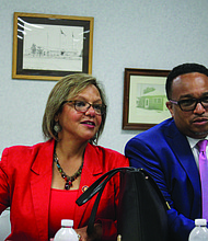 At an Aug. 5, 2019 community meeting in Country Club Hills U.S. Rep. Robin Kelly, D-2nd, Cook County Commissioner Stanley Moore, D-4th, spoke about the 2020 U.S. Census and why it is important for everyone to be counted. Photo credit: By Wendell Hutson