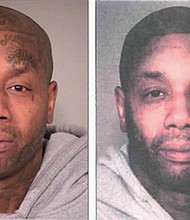 Tyrone Lamont Allen's actual mugshot showing his face tattoos (left) and the altered photo with the markings removed to match a description of a man in a bank robbery. A judge will decide if the photo manipulation was an attempt to 'rig the outcome' of a prosecution.