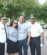 Pictured from left to right Chicago Superintendent Eddie Johnson, Sandra Wortham, Commander Rahman Muhammad and Chief of Patrol Fred Waller.  Photo by Jerome Simmons