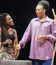 "Kimberly Monks (Riley) and Christiana Clark (Tami) star in ""How to Catch Creation"" at the Oregon Shakespeare Festival in Ashland, a play featuring an excellent cast of six African American characters and projecting voices that ring with a clarity borne of struggle."