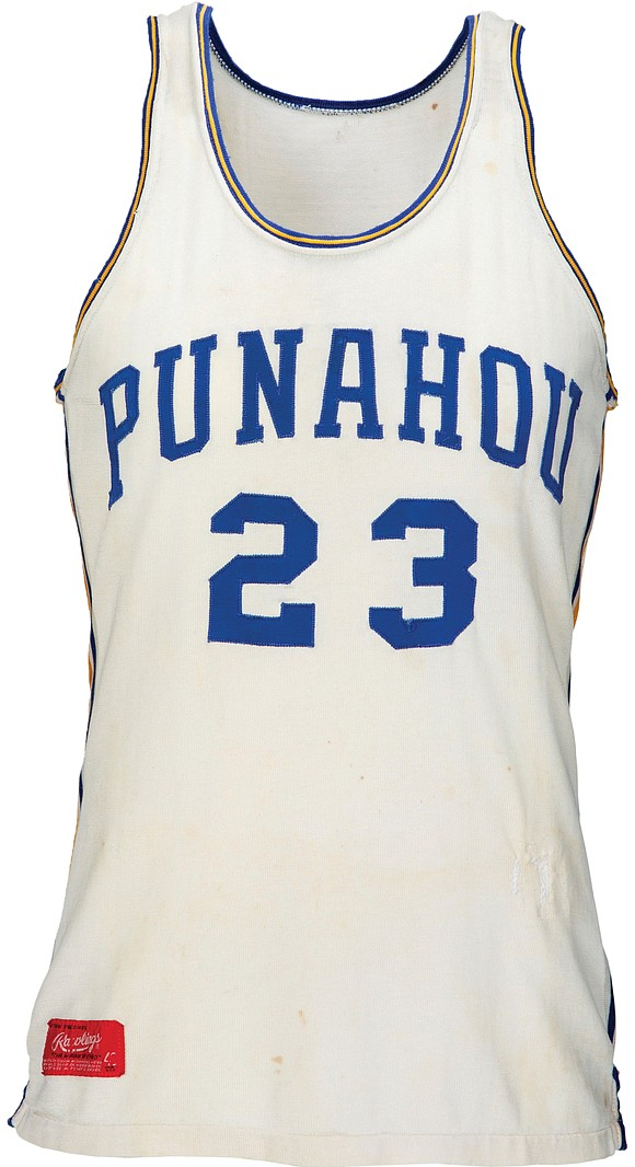 A basketball jersey believed to have been worn by former President Barack Obama while he was at an elite Honolulu ...
