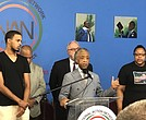 Rev. Al Sharpton with Emerald Snipes Garner, Eric Garner, Jr. Daughter and son of Eric Garner