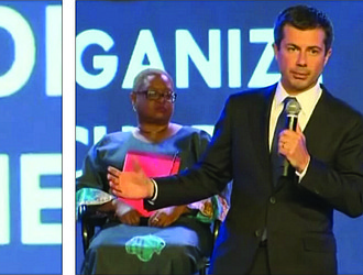Presidential candidates Sen. Cory Booker, Mayor Pete Buttigieg and Julian Castro address the first day of the Black Church PAC presidential candidate forum on Aug. 16 at the Young Leaders Conference in Atlanta.