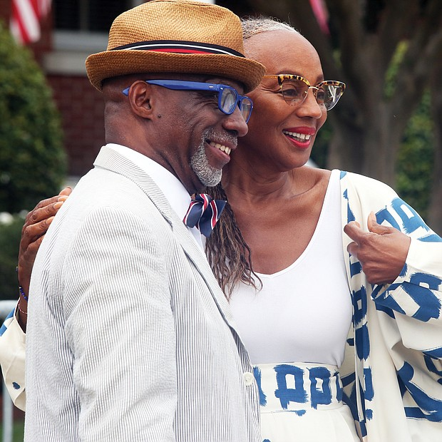 Susan Taylor, former editor-in-chief of Essence magazine, poses for a photograph on Sunday with Chester Williams of Newport News. She was among several celebrities who attended the weekend commemoration events. (Regina H. Boone/Richmond Free Press)