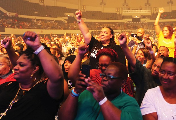 The crowd responds to Common during Saturday night's performance, with many people rapping along with him. (Regina H. Boone/Richmond Free Press)