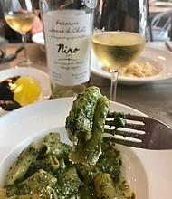 Rigatoni pesto and Pecorino white wine