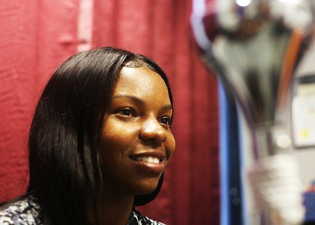 Diamond McGhee was a majorette with the VUU Maroon Elegance twirlers for the last two years. She will see the band from a different vantage point in her new position as co-drum major.