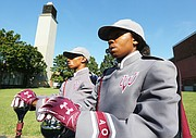 Drum majors Diamond McGhee and Nathan James will be leading Virginia Union University's 100-member Ambassadors of Sound Marching Band.