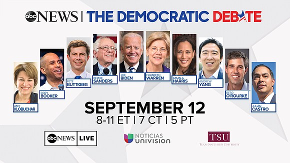 ABC News announced the Democratic Debate will air on Thursday, September 12 from 8:00 to 11:00 p.m. ET on the ...