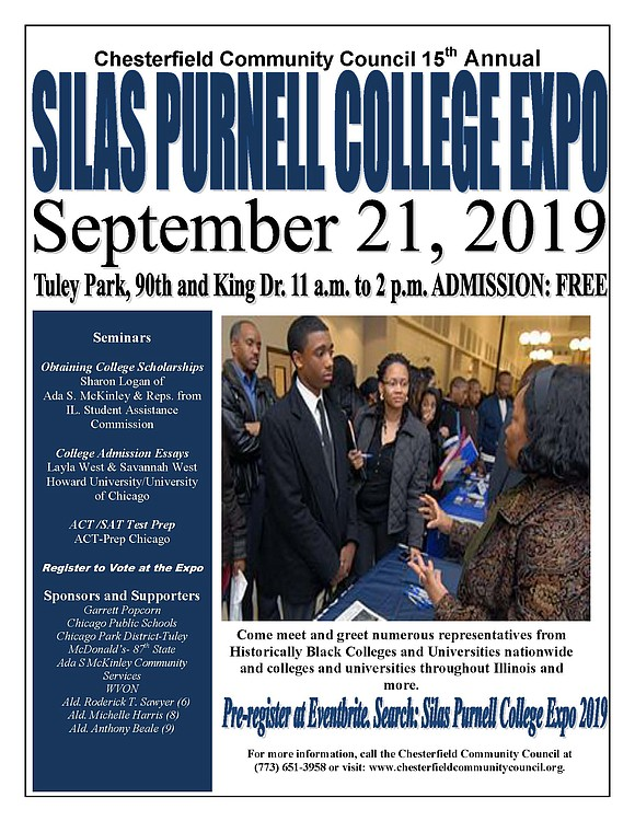 """The Chesterfield Community Council (CCC) will host the 15th Annual """"Silas Purnell College Expo"""" on Saturday, September 21, 11:00 a.m. ..."""