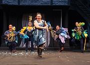 "Lauren Modica (Duck), Amy Kim Waschke (Dodo), Emily Ota (Alice), Katy Geraghty (Eaglet) and Robin Goodrin Nordli (Lory) star as the Oregon Shakespeare Festival presents a loving take on the classic play ""Alice in Wonderland."""