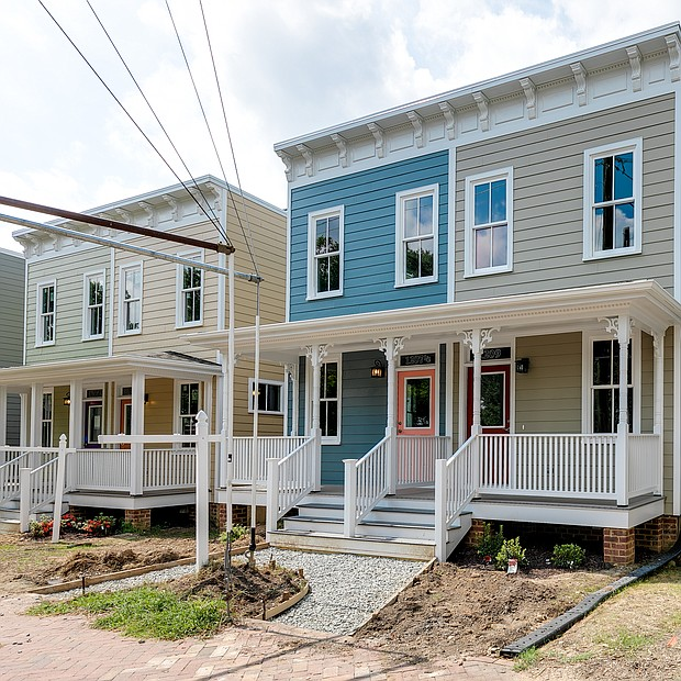 A view of the finished, two-bedroom, 2 1⁄2-bath solar homes in the Carver neighborhood that were showcased during a Sept. 12 open house by Richmond-based developer project:HOMES.