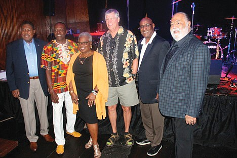 40 Years of music.  The Richmond Jazz Society is celebrating its 40th anniversary dedicated to the preservation and advancement of jazz in the local area by presenting local, national and international jazz artists through its guest educator concert series, scholarships and community outreach programs. Its 2019 season kicked off Sept. 10 with a performance by founding board member J. Plunky Branch and The Universal Ensemble, with vocalists Lady Eka-Eta (Jacqueline Holoman Lewis) and legendary Ghanaian percussionist Okyerema Asante. Enjoying the event are founding board members, from left, Nelson R. Lawson, Mr. Branch, B.J. Brown, William S. Lowe, G. Khari Branch and Robert L. Payne Sr. The yearlong celebration will continue with concerts by the Kenney Rittenhouse Ensemble featuring Imani Gonzales on Oct. 8; the Steve Wilson Quintet with special guest Bill Pierce on Nov. 12; and vocalist Rene Marie on Dec. 10. Details: www.vajazz.org.