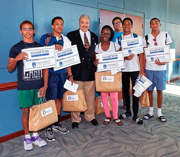 Hampton University's drumline raised the roof with crisp cadences as students — victims of Hurricane Dorian in the Ba- hamas ...
