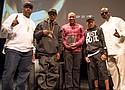 (L-R) Eric B., (hip hop DJ and producer of Eric B. & Rakim), Rakim (of Eric & Rakim), Ralph McDaniels, Korey Wise (of the Exonerated  5)