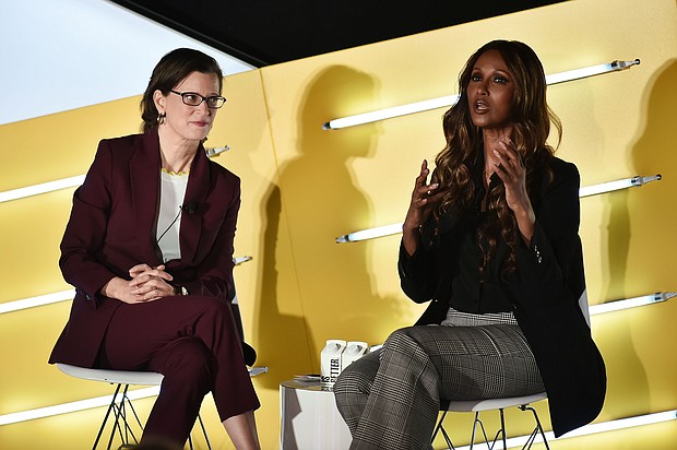 L-R President and CEO of CARE Michelle Nunn with supermodel Iman at AdWeek New York