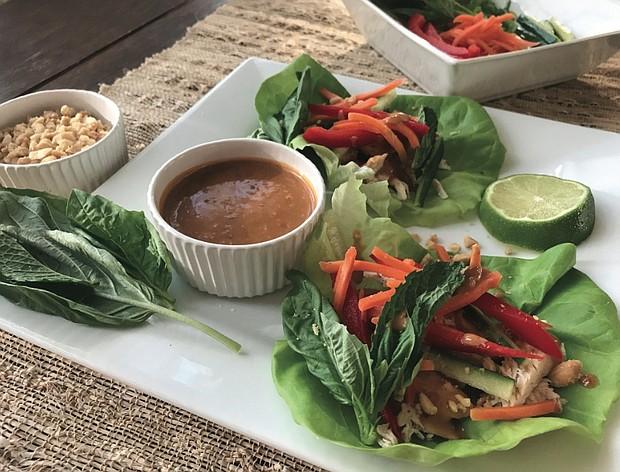 Thai Chicken Lettuce Wraps with Peanut Sauce