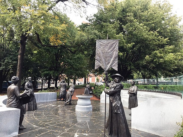"""""""Voices from the Garden: The Virginia Women's Monument"""" on Capitol Square has seven life-size bronze statues of noted Virginia women by New York-based artist Ivan Schwartz."""