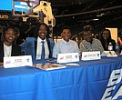 Players from Seton Hall at Big East Basketball Media Day (l-r) Desiree Elmore, Shadeen Samuaels, Alexis Lewis, Selena Proxy adn Barbara Johnson