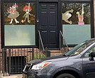 Racist images in the front window of Dany Rose's home in Brooklyn