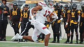 Virginia Union University's Charles Hall heads down the field in last Saturday's game against the Bowie State Bulldogs. Despite the Panthers' ultimate loss, Hall had a good day, catching three passes for 99 yards, including a 75-yard touchdown catch.