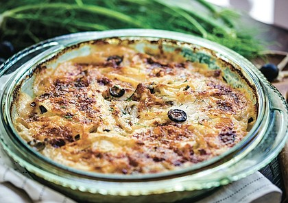 Potatoes Au Gratin with Fennel and Olives