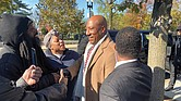 Media mogul Byron Allen is surrounded by supporters after leaving the U.S. Supreme Court, where arguments were heard Nov. 13 in his lawsuit against Comcast.