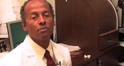 Dr. A. Sydney Williams demonstrates how to instill medication eye drops for treating glaucoma.
