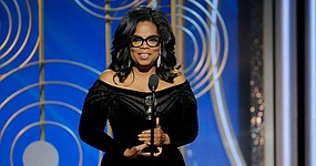 Oprah Winfrey receives the Cecil B. de Mille Award at the 75th Annual Golden Globe Awards.