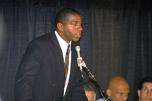 "Today marked 20 years since Earvin ""Magic"" Johnson held a news conference at the Great..."