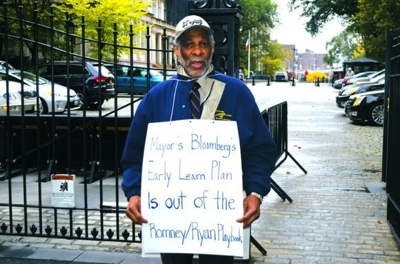 DC 1707 AFSCME Executive Director Raglan George Jr. was a one-man picket line in front...