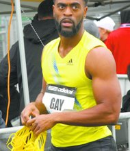 Tyson Gay wins Adidas 100M sprint