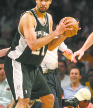 April 13, 2008; Tim Duncan of the San Antonio Spurs during the game. The Los Angeles Lakers defeated the San Antonio Spurs by the final score of 106-85 at Staples Center in downtown Los Angeles, CA.