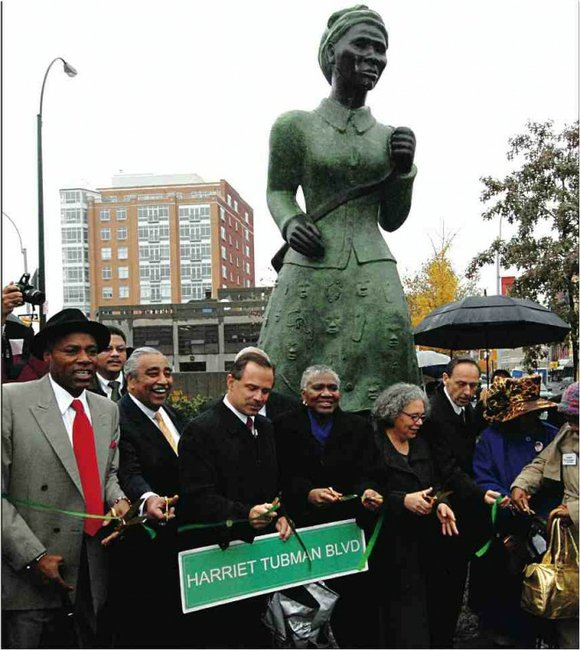 Former Manhattan Borough Pres. C. Virginia Fields arrived at the dedication of the Harriet Tubman...