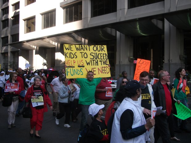 Unions march on Wall Street
