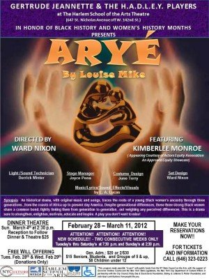 "HADLEY PlAYERS' GREAT ""ARYE"" OPENS FEb. 28 AT HSOTA: Gertrude Jeannette and the HADLEY Players..."