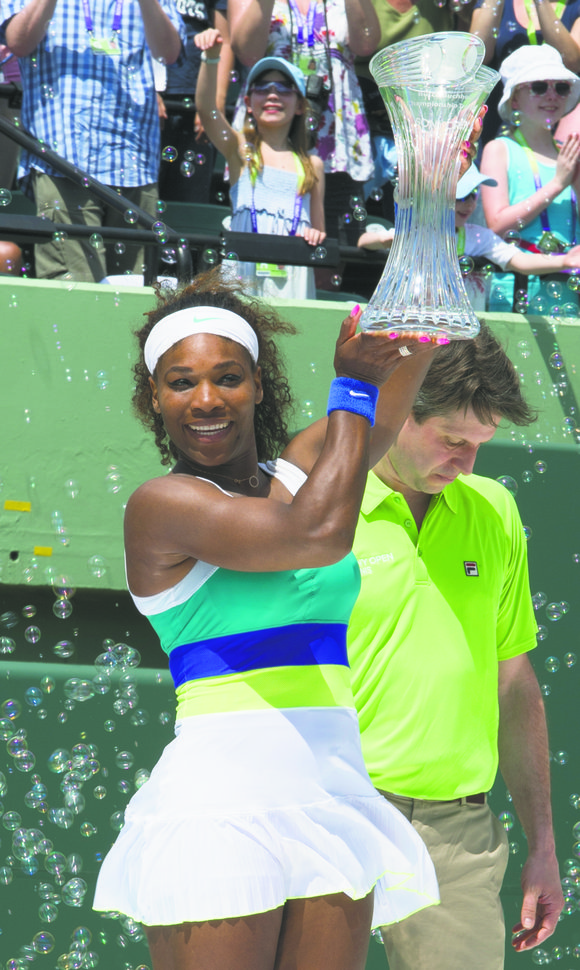 Serena Williams, in a slow start at the Sony Open, dropped the first set in...