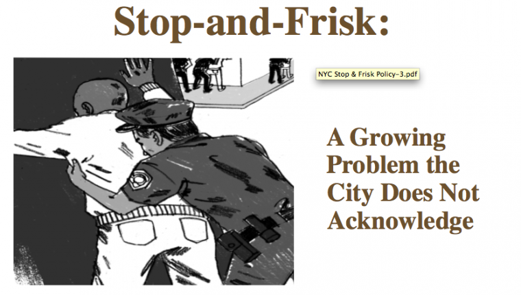 stop and frisk essay Free essay: stop-and-frisk: cleaning up the streets, or racial profiling at its finest taryn konkler introduction to law enforcement professor michael.