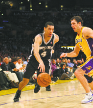 Danny Green #4 of the San Antonio Spurs during the game. The Los Angeles Lakers defeated the San Antonio Spurs by the final score of 102-93 at Staples Center in downtown Los Angeles, CA.
