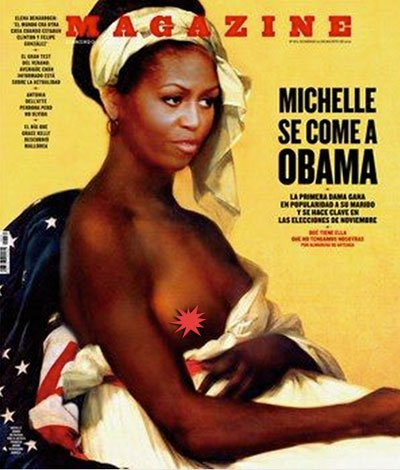 Spanish magazine depicts Michelle Obama as negress-slave.