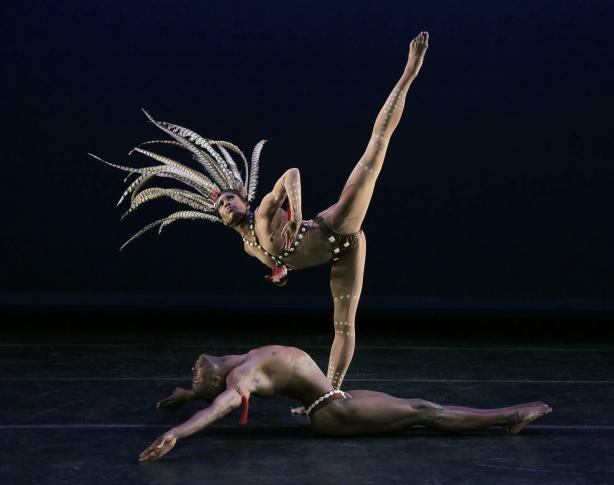 "AAADT's Briana Reed and Samuel Lee Roberts in Geoffrey Holder's ""The Prodigal Prince"" (Paul Kolnik photo)"