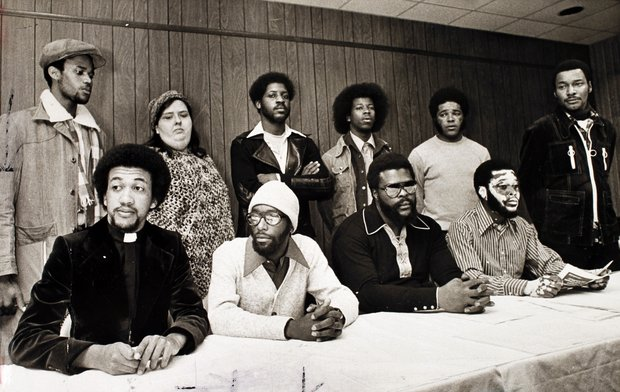 Archival photos of Wilmington 10:  From left, front row,  Rev. Ben Chavis, Joe Wright, Connie Tindall, Jerry Jacobs; from left, back row, Wayne Moore, Anne Sheppard, James McKoy, Willie Vereen, Marvin Patrick and Reginald Epps.  1976