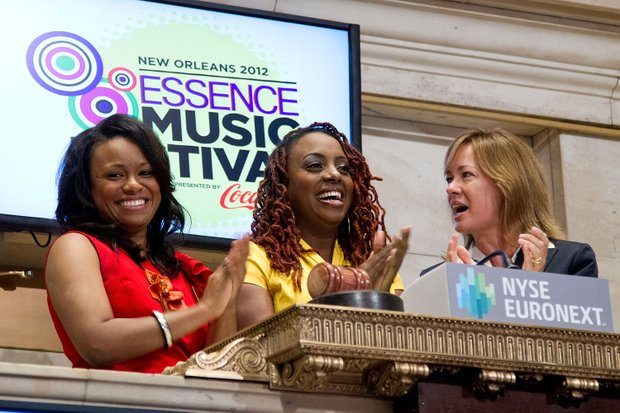 NEW YORK, NY - JUNE 4:  ESSENCE General Manager Joy Colins, ESSENCE Magazine Editor in Chief Constance C. R. White and ESSENCE Music Festival Artist Ledisi ring the opening bell at the New York Stock Exchange on June 4, 2012 in New York City. (Photo by Ben Hider/NYSE Euronext)