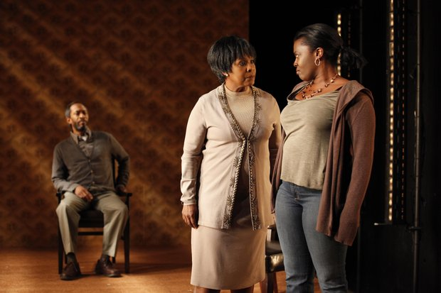"L-R: Michael Rogers, Elain R. Graham, and Heather Alicia Simms in the U.S. premiere of debbie tucker green's ""Born Bad"" produced by Soho Rep. (Carol Rosegg photo)"