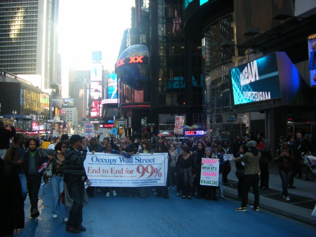Protestors march from Washington Heights to Wall Street