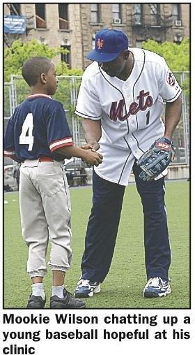 Mookie Wilson batting for Metropolitan Jr. Baseball League